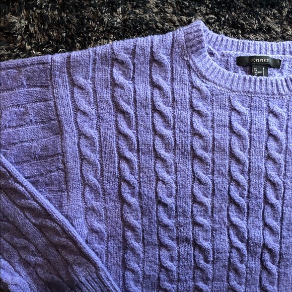 Forever 21 Sweaters - Forever 21 Lavender Cropped Knit Sweater